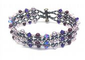 Two Row, Crystal and Pearl Bracelet Jewellery Kit with SWAROVSKI Lilac purple
